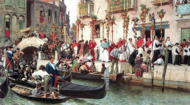 Procession Fete-Dieu à Venise en 1873-1874
