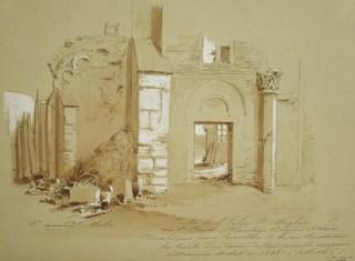 Jules-Adolphe Chauvet - Ruines de Saint-Magloire vers 1842, avant leur destruction par la monarchie de Juillet pour le percement de la rue Rambuteau.