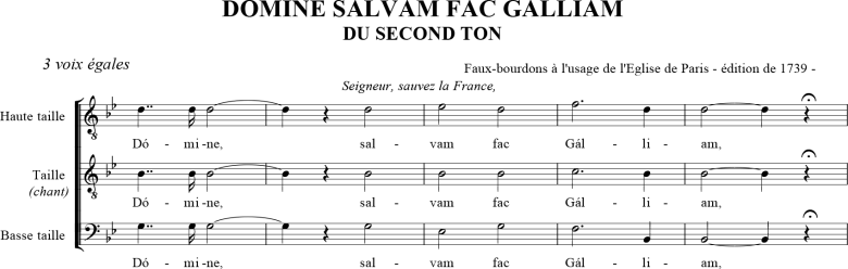 Domine salvam fac Galliam du second ton - faux-bourdon parisien