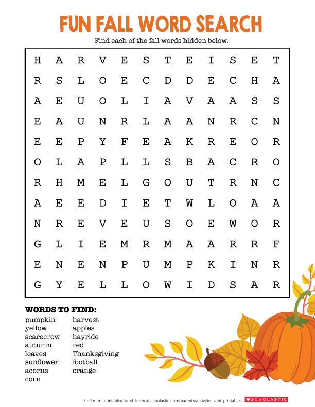 Welcome Fall With This Word Search Printable Scholastic Parents