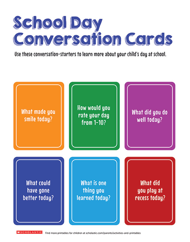 Fun Conversation Cards to Get Your Child Talking Scholastic Parents