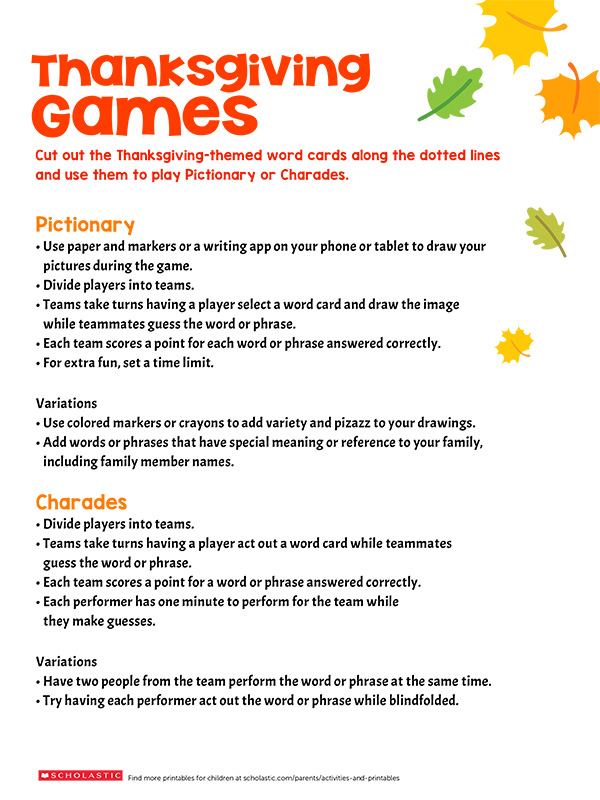 Thanksgiving-Themed Games for the Whole Family Scholastic Parents