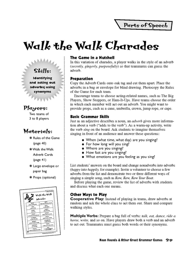 Walk the Walk Charades Adverb Game Worksheets  Printables