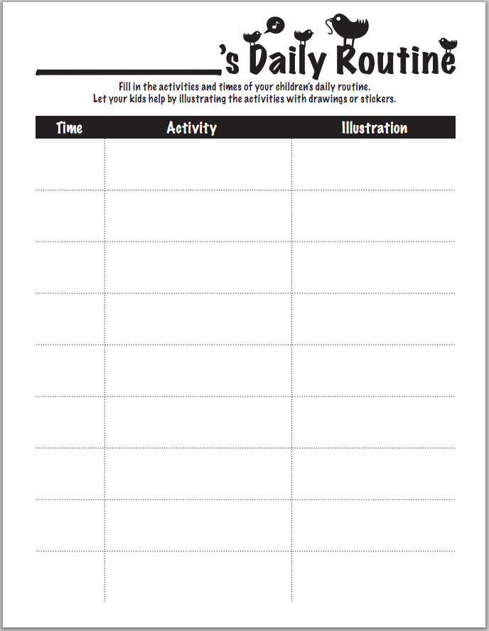Daily Routine Chart Worksheets  Printables Scholastic Parents