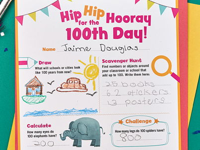 Printable 100th Day of School Scholastic