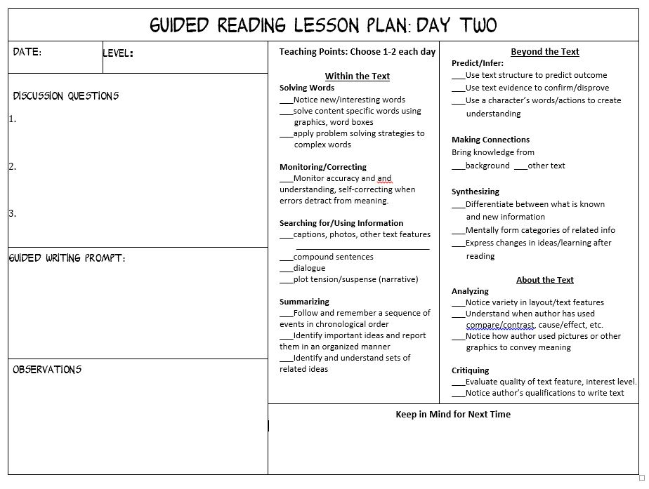 Make Guided Reading Manageable Scholastic - sample guided reading lesson plan template