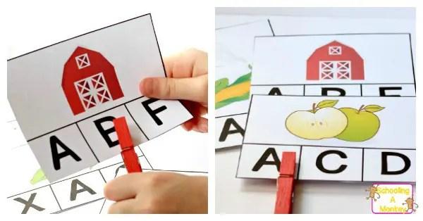 Printable Farm Alphabet Card Matching Game