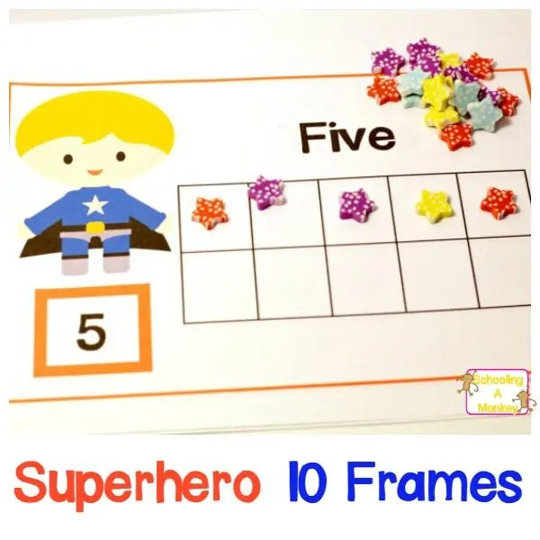 Superhero 10 Frame Counting Worksheets for Preschool