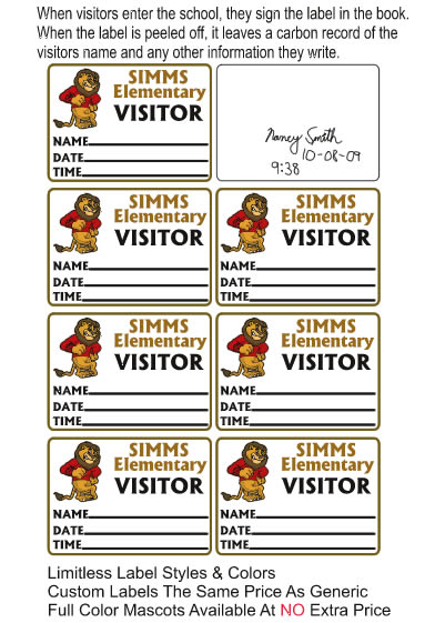 Visitor Pass Sign-In Book School Labels (877) 522-3565