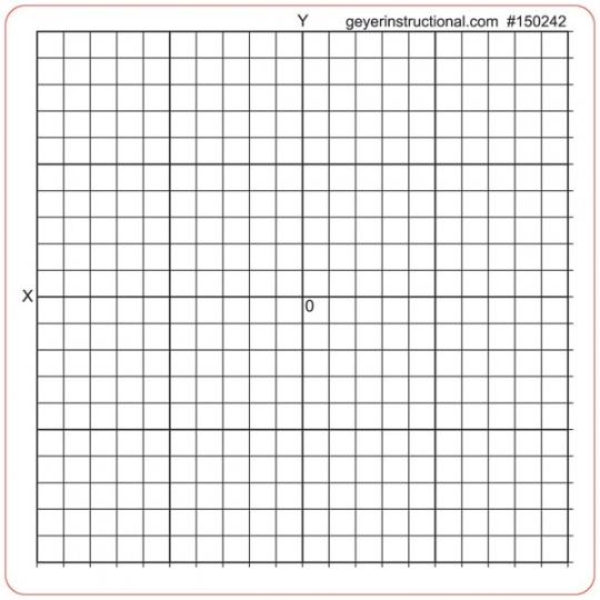 500 pk - Graph Paper Stickers - Accentuated Grid - XY Axis SCHOOLSin