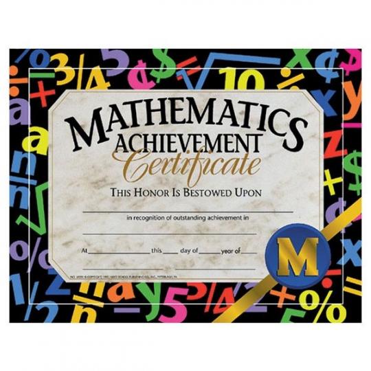 30 pk - VA581 Math Achievement Certificates - 8 1/2\