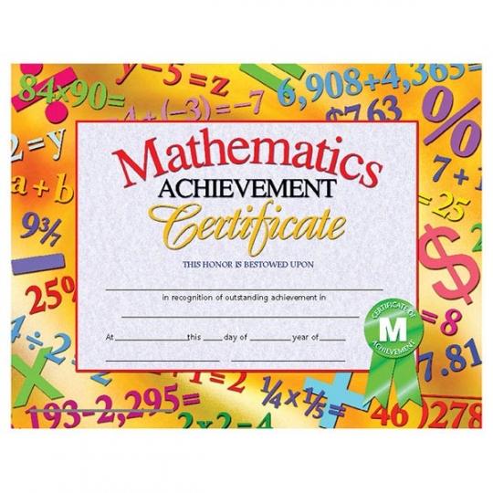30 pk - VA681 Math Achievement Certificates - 8 1/2\