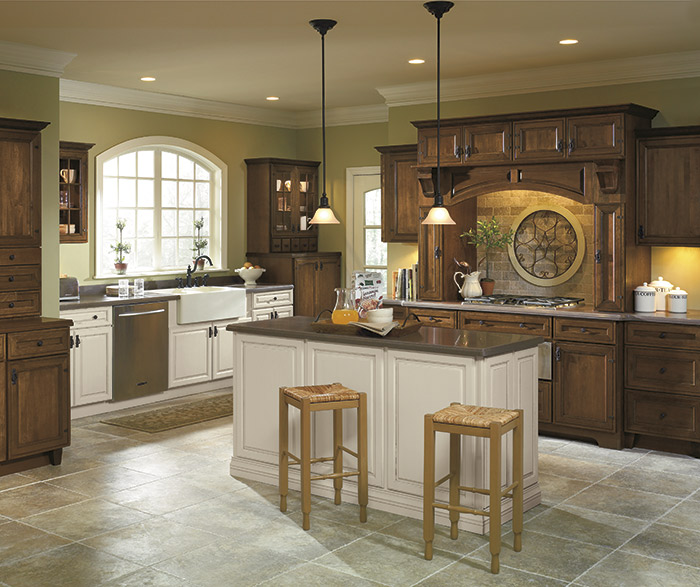 Rustic Kitchen With Off White Cabinet Accents Schrock