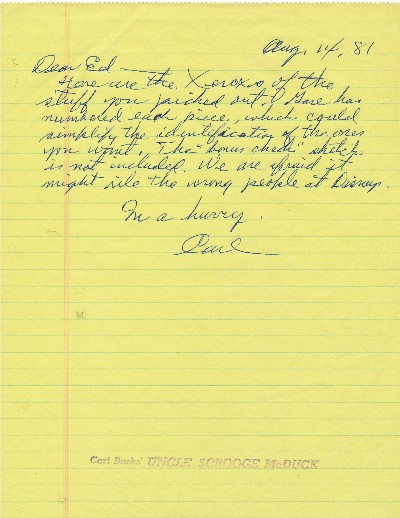 CARL BARKS Autograph Letter Signed, on yellow lined paper rubber
