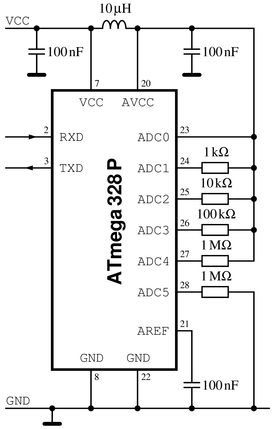 avr test circuit on a breadboard