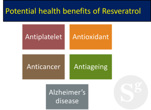 Potential health benefits of Resveratrol in red wine. ©Sciengist