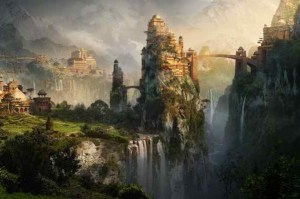 Artistic portrayal of the valley of Shangri-la (Image: Sky Captain and the World of Tomorrow)