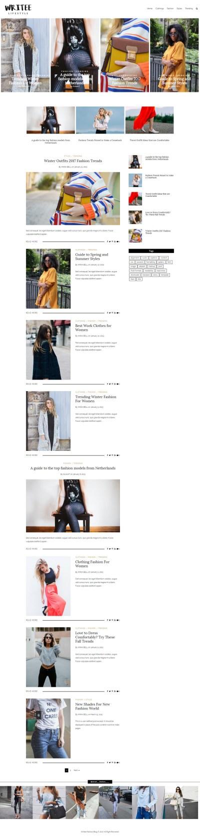 Writee Pro Premium WordPress Blog Theme | Scissor Themes