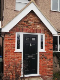 Porch front door with small decorative window panels - SCI ...