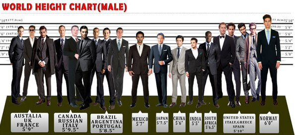 Average Height for Men in World  Height And Weight Chart