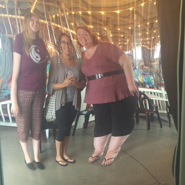 Fun house mirror... but I really am that much shorter than Bec and her daughter. Whomp whomp!