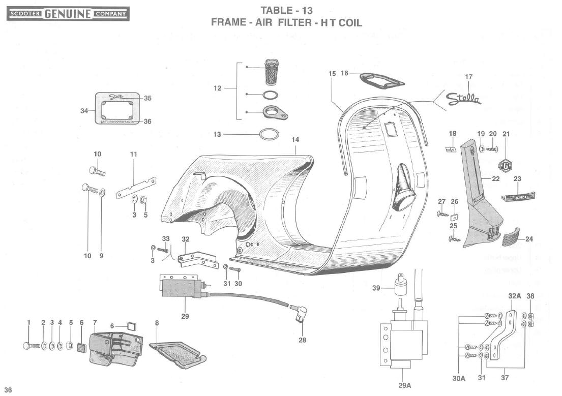 Stella Scooter Wiring Diagram Auto Electrical Vespa Parts