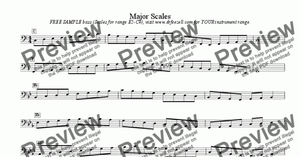 Bass clef scales - FREE - major scales / minor scales - Sheet Music