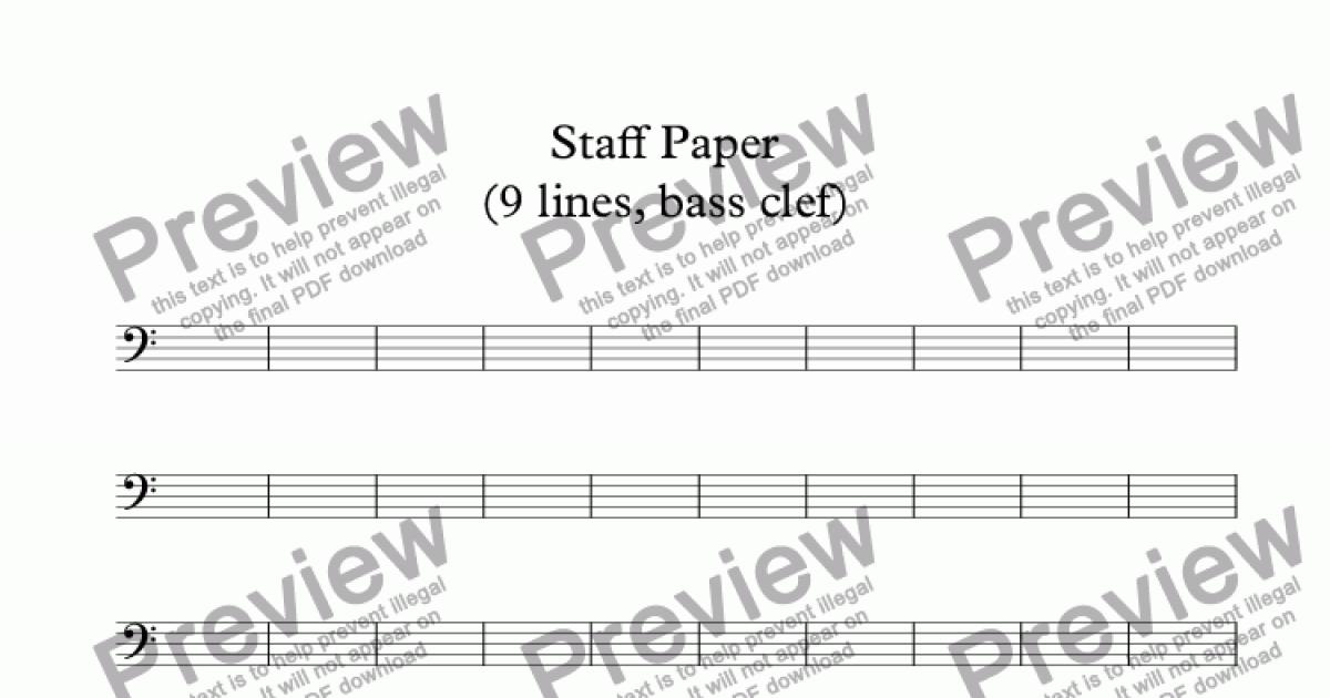 Staff Paper (9 lines, bass clef) - Download Sheet Music PDF file