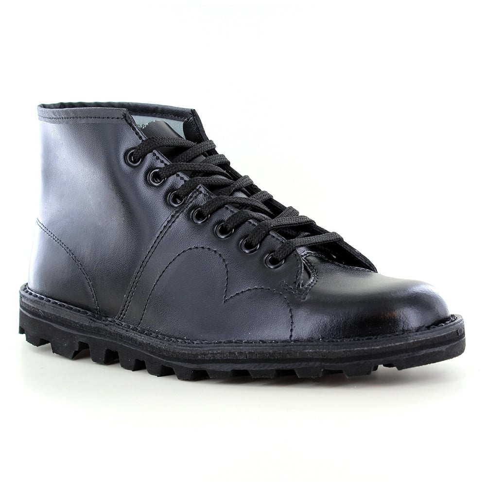 Grafters B430a Mens Leather 7 Eyelet Monkey Boots Black