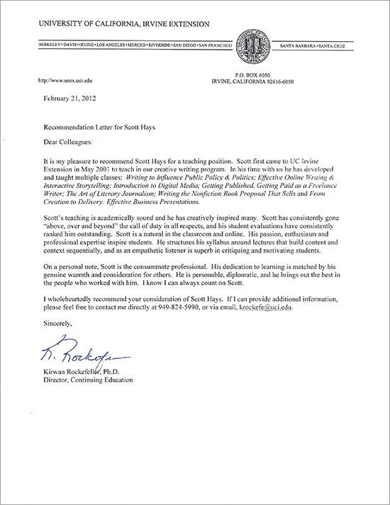Scott Hays » Recommendation Letters