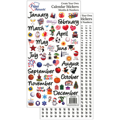 Paper Accents Large Months and Numbers Calendar Stickers
