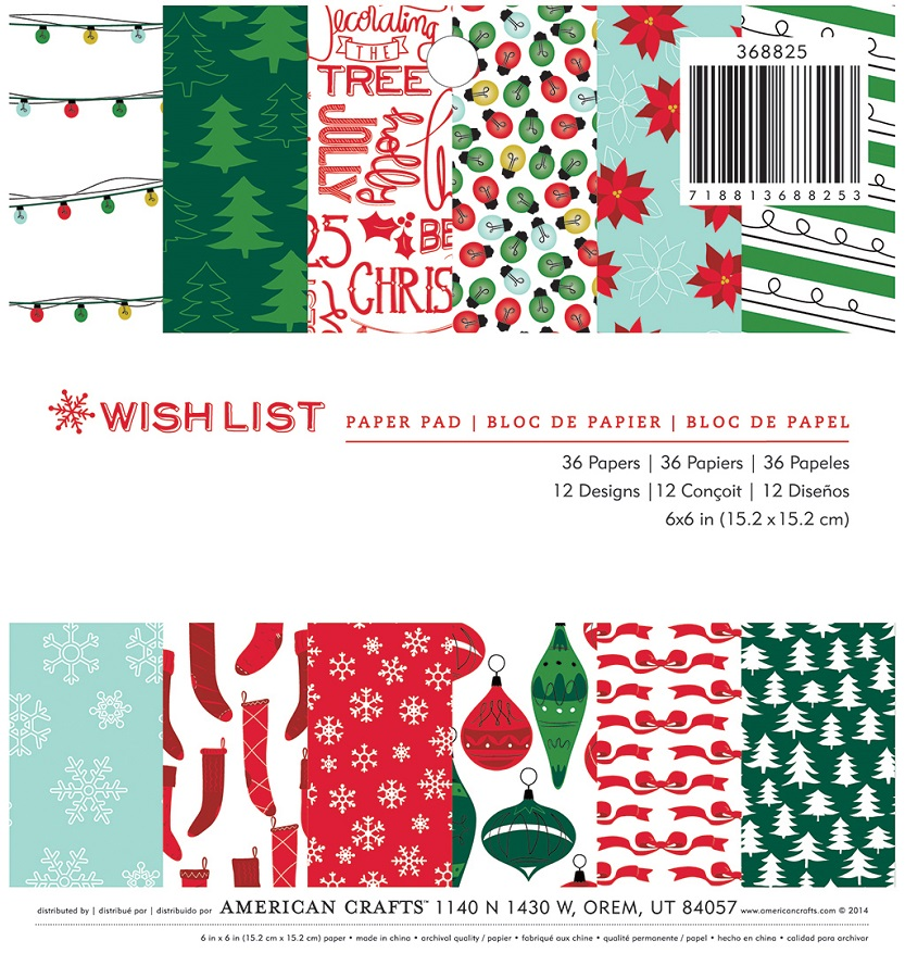 American Crafts Wish List 6 x 6 Paper Pad - christmas wish list paper