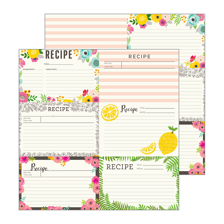 Pebbles Patio Party Recipe Cards Paper
