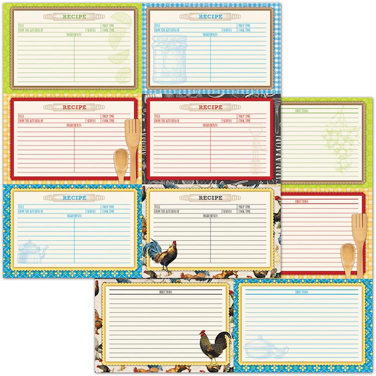 BoBunny Family Recipes Recipe Cards Paper - double recipe cards