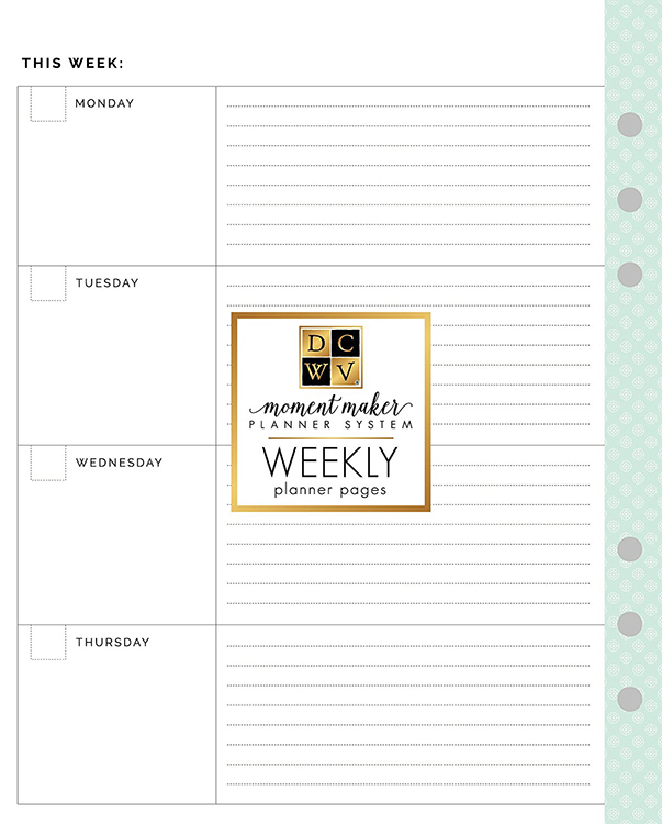 Die Cuts with a View Planner Weekly Pages Inserts