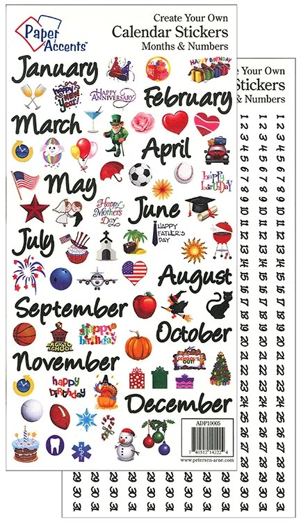 Paper Accents Medium Months and Numbers Calendar Stickers