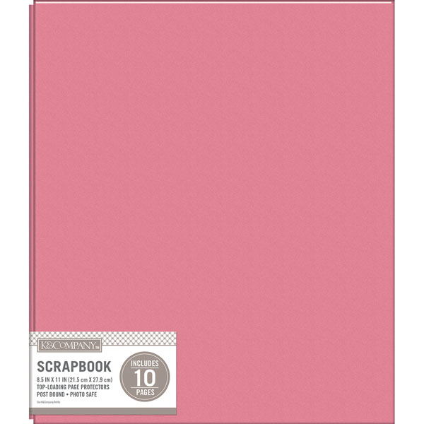 K and Company Pink Basic Faux Leather 85 x 11 Scrapbook Album