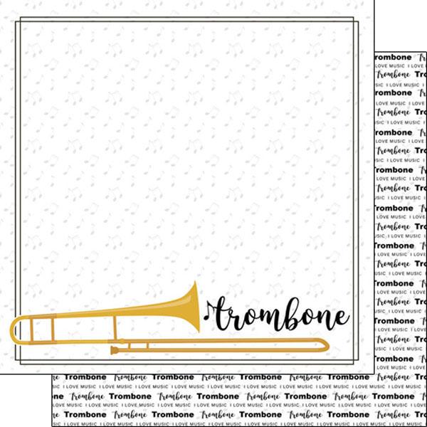 Scrapbook Customs Music Notes Trombone Notes Paper