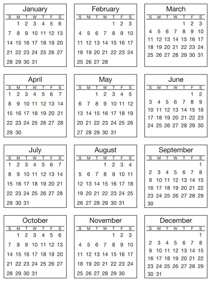 SRM Press 2018 Standard Mini Calendar Stickers