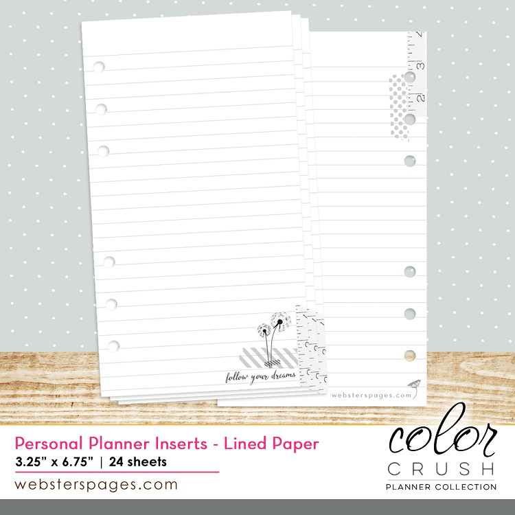 Websters Pages Color Crush Personal Planner Lined Paper Inserts
