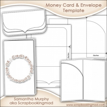 Money Gift Card  Envelope Template Commercial Use - £350 - Gift Card Envelope Template