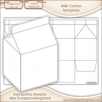 Milk Carton Template Commercial Use - £350  Scrapbookingmad - Milk Carton Template