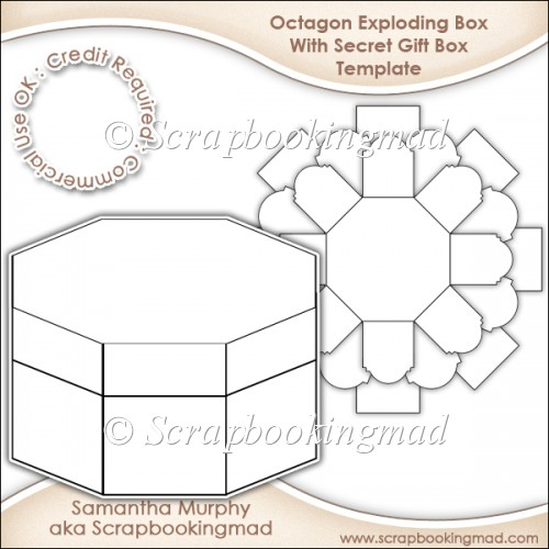 Exploding Box With Secret Gift Box Template CU OK - £350 - gift box templates free download