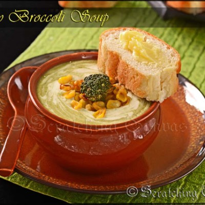 Dairy Free Creamy Broccoli & Roasted Corn Soup without Cheese