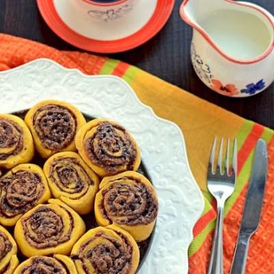 Pumpkin Cinnamon Chocolate Rolls (Yeast Free)