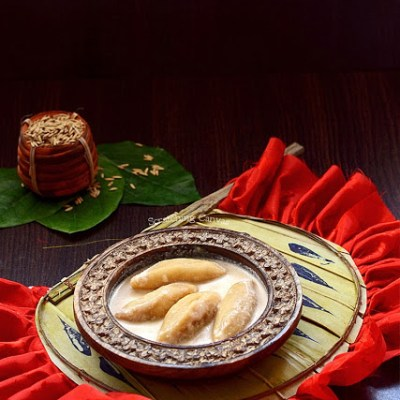 Dudh Puli or Coconut Stuffed Rice Dumpling: Makar/Poush sankranti special