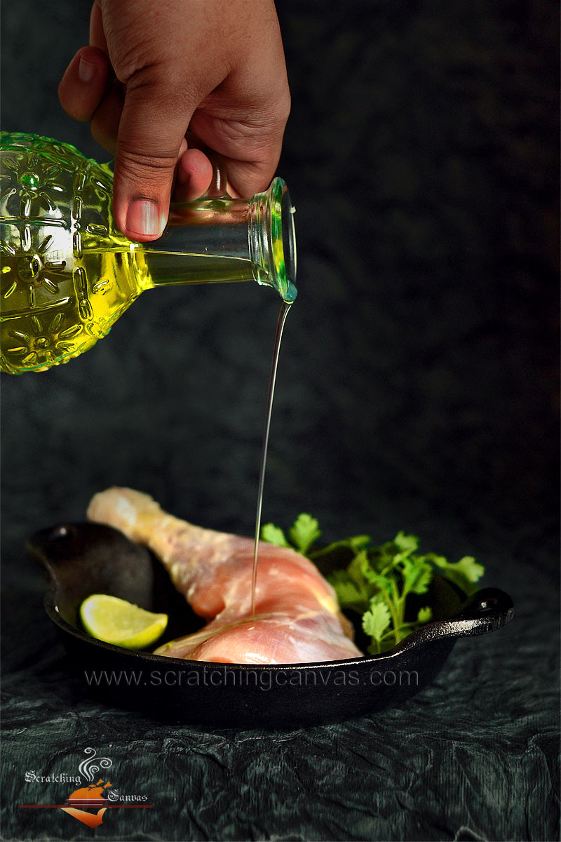 Oil Pouring on Chicken Food Photography