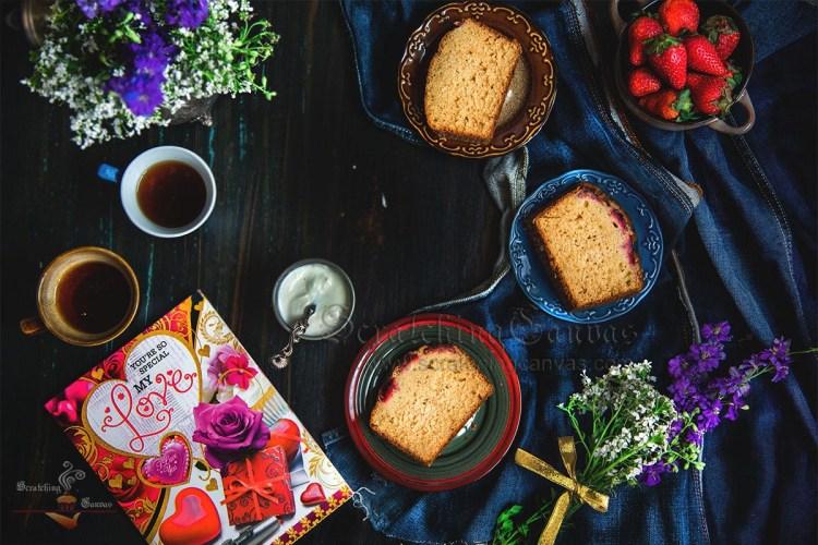 Strawberry Tea Cake | Buttermilk Sponge Cake with Fresh Strawberries