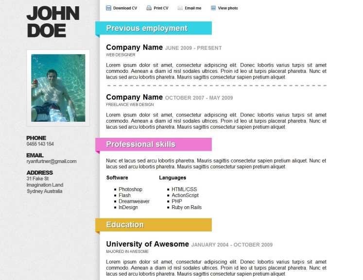 Top 40 Professional Online CV \ Resume Templates Web Development - resume online