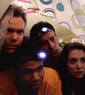 Joel McHale, Donald Glover, Danny Pudi, and Alison Brie on Community. Image © NBC.